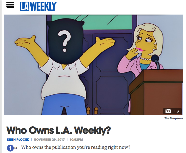 A screenshot from LA Weekly today, capturing the questions staff and the rest of us are all asking about the newspaper's new buyers. (screenshot via LA Weekly)