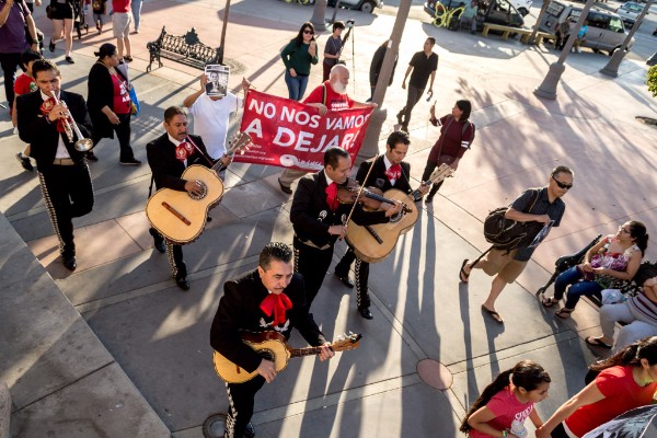 Mariachis and tenants protest unjust rent increases in their Boyle Heights neighborhood. (Photo via Timo Saarelma)