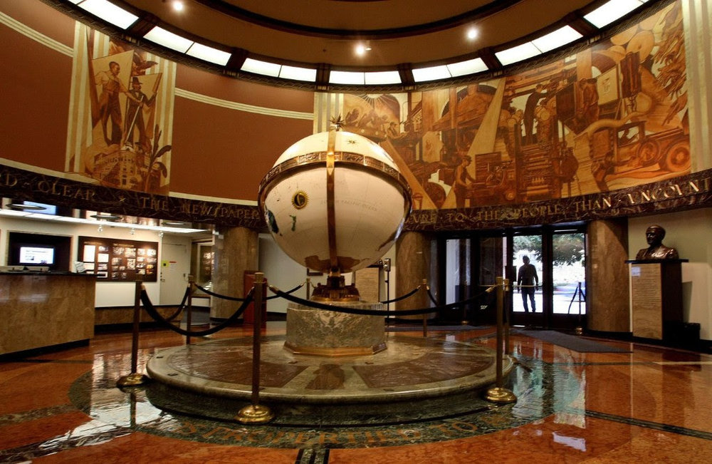 On a lighter note re: the LA Times, they have a pretty great lobby and it's open to the public. Go check it out on 1st Street. (image via  LA Times )