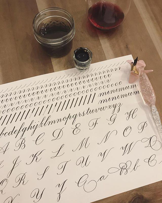 Late night doodle view #calligraphy #calligraphypractice #drills #copperplate #miniscules #majuscules #spencerian #sumiink #dontdrinktheinkwater #drinkthewine