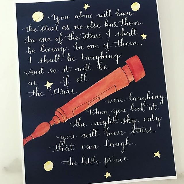 Only you will have stars that can laugh ⭐️✨⭐️✨⭐️ Nib: Tachikawa G, ink: Dr. Ph Martin's Bleedproof White. #thelittleprince #lepetitprince #antoinedesaintexupery #literature #classics #childhoodlibrary #quotes #calligraphy #artwork #commissioned #nurseryprints #firstbirthday