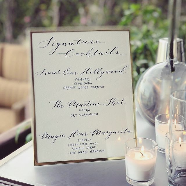 #repost 📷@maisonrichards .  #cocktails #cocktailmenu #cocktailhour #signaturecocktails  #event #eventplanning #drinks #bar #menu #calligraphy #moderncalligraphy
