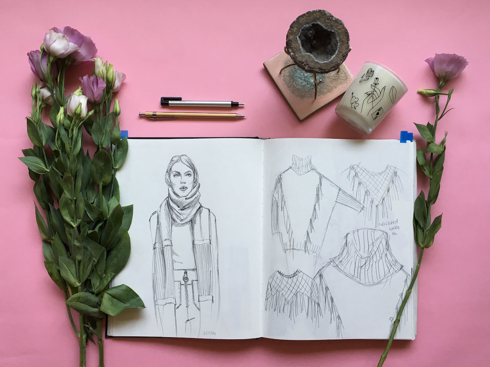 Left: outfit inspired by Edun Pre-Fall '16 runway  Right: sketches of sweater ideation