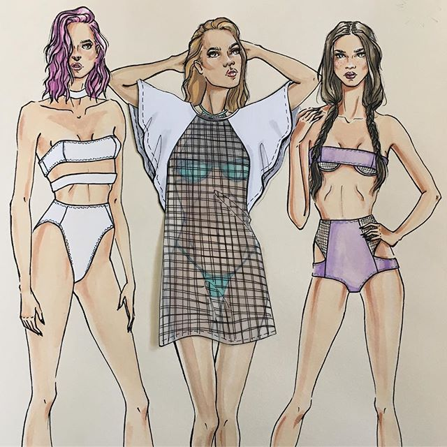 Added color! Illustrations of swimwear I designed around color, cut outs, and sheer layering #watercolor #wip