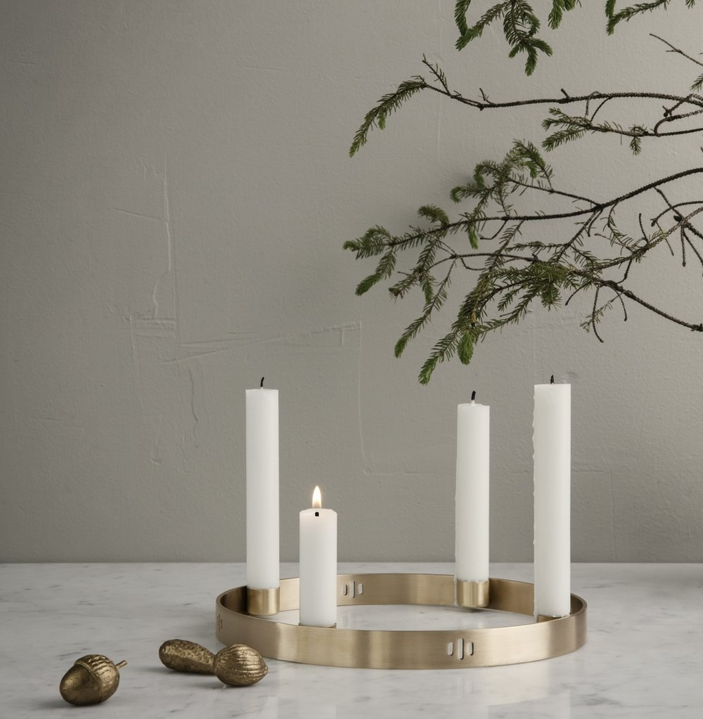 Ferm Living brass candle-ring arriving October 29th