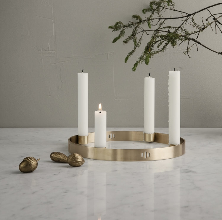 Ferm Living Brass Circle Candle Holder   Because Christmas is coming and this amazing candleholder would make a fabulous centrepiece!! We would add some eucalyptus around it for a festive tablescape.