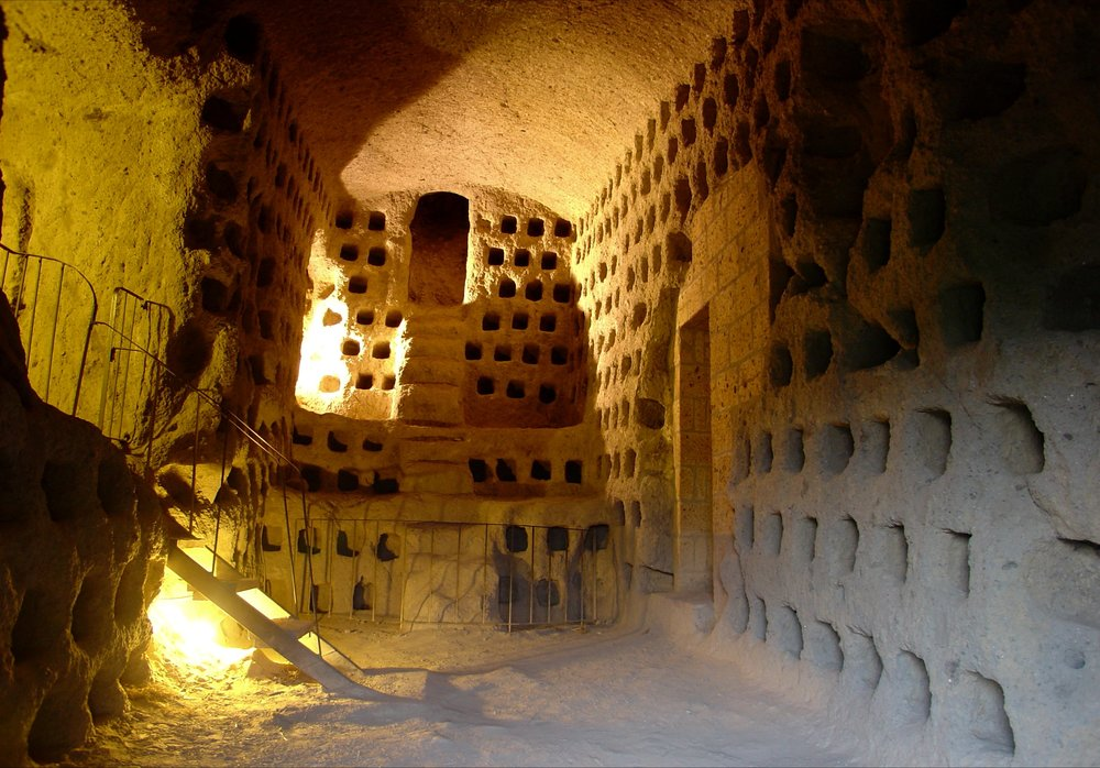 The centuries-old dovecotes – colombari – carved into the caves in the Cliffside (Photograph by Daniel Nystedt).