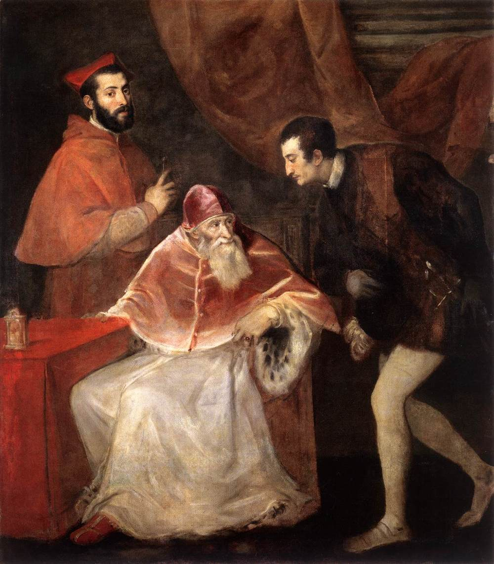 Titian, Pope Paul III and his Grandsons (1546), commissioned by the Farnese family (Museo di Capodimonte, Naples)