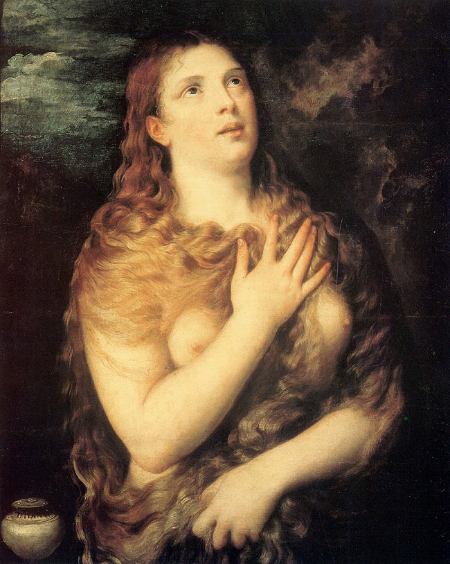 Titian, painting of St. Mary Magdalene (1533) (Pitti Palace, Florence)