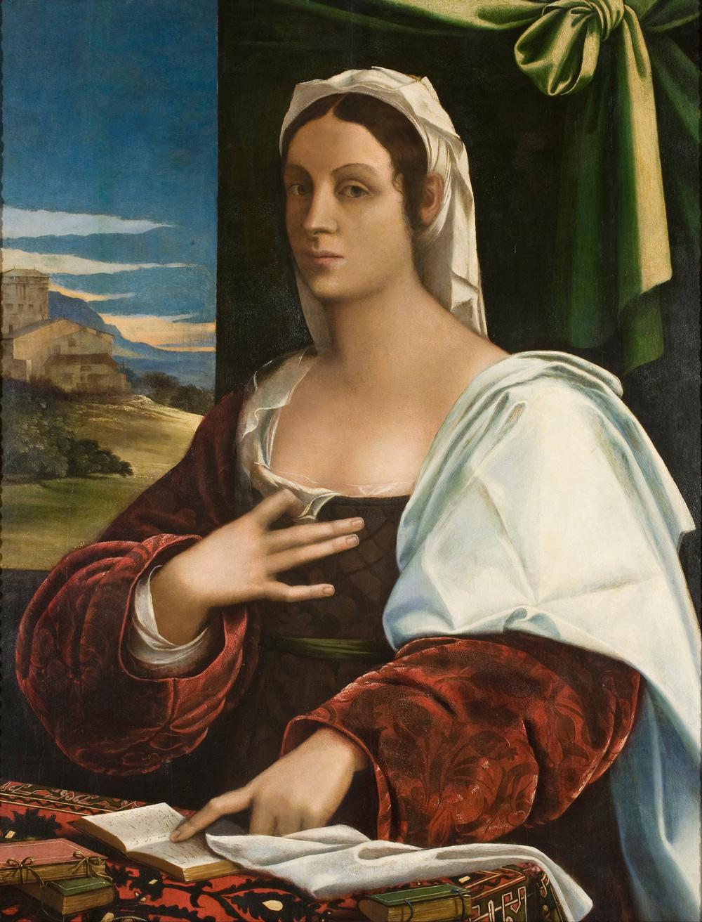 Vittoria Colonna, portrait by Sebastiano del Piombo (Circa 1520), Museu Nacional d'Art de Catalunya