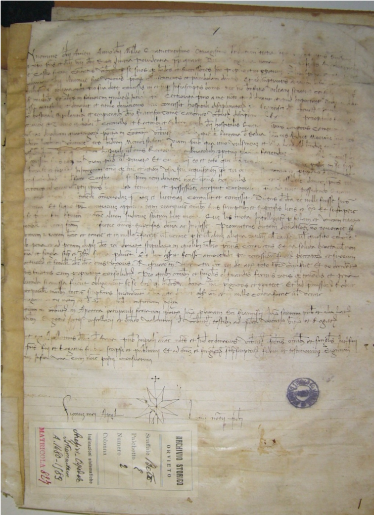 Orvieto, Archivio Storico Comunale, Ospedale S. Maria della Stella, ms 827