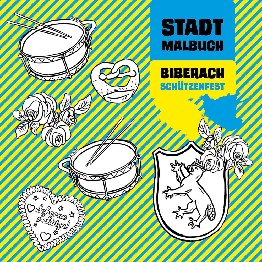 Titelseite des Malbuchs Biberach Schützenfest