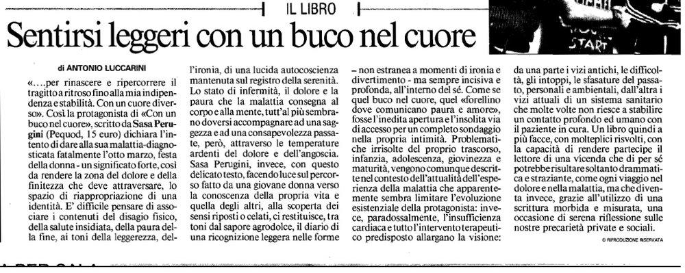 """Recensione a cura di Antonio Luccarini, """"Messaggero Ancona"""", 29 maggio 2012"""