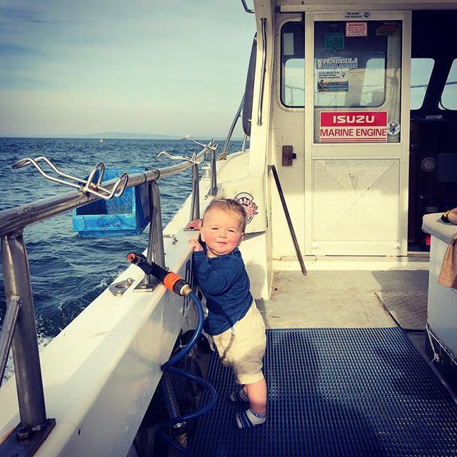Young Gordon is pretty stoked on ocean grove fishing charters new boat 🎣🎣🥳