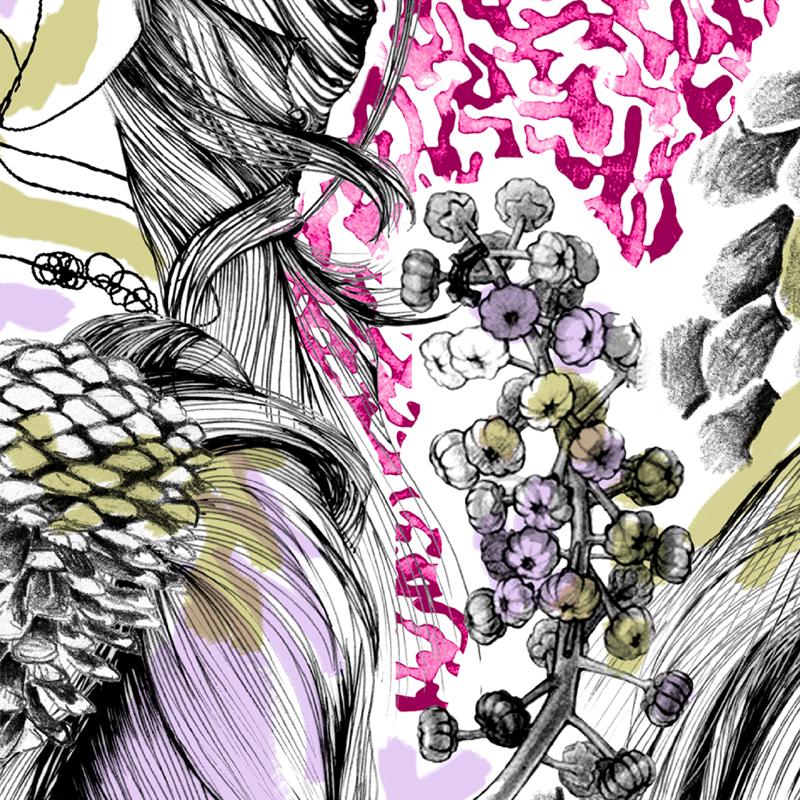 Mushroom Hunt  oversized abstract organic fashion print | SOLD