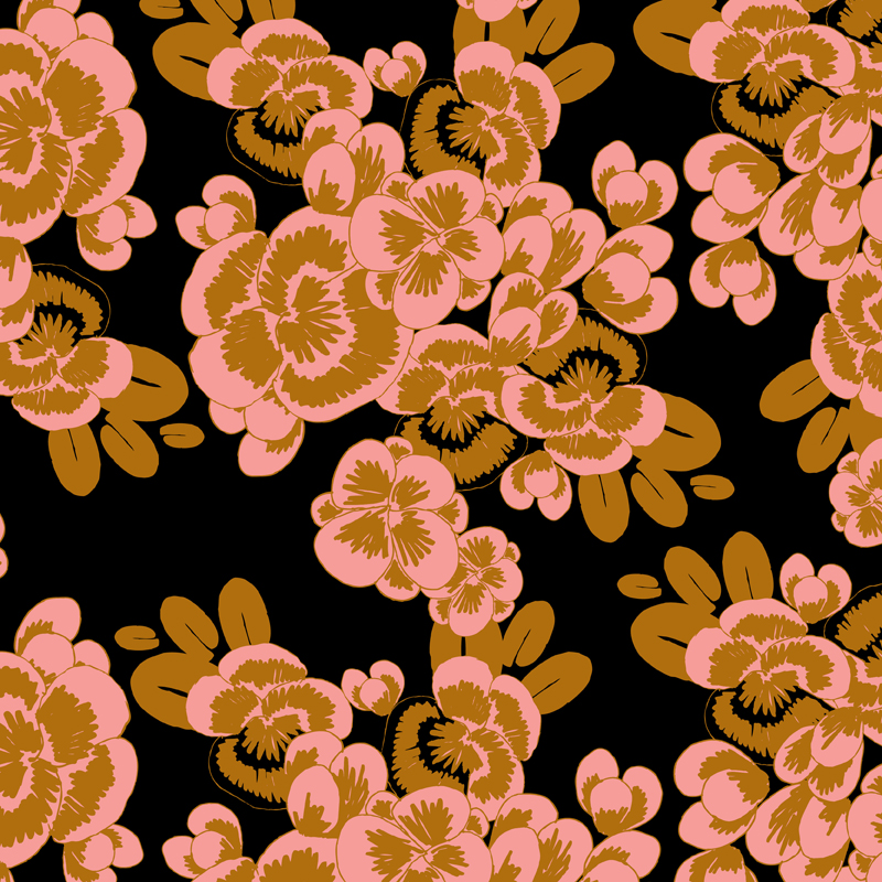 Salma  graphic floral fashion yardage print | SOLD