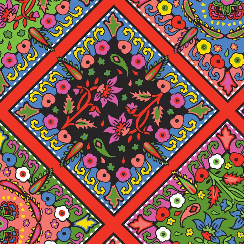 Babushka Pop  graphic paisley scarf fashion print | SOLD