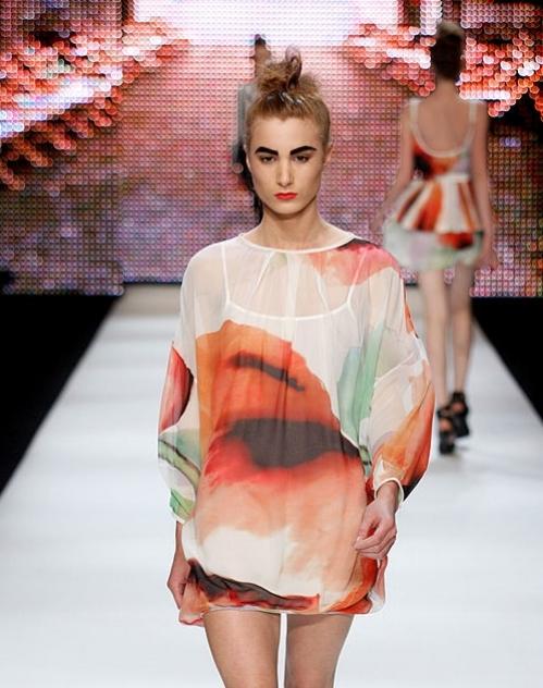 Custom designed oversized watercolour tulip print for Camilla & Marc