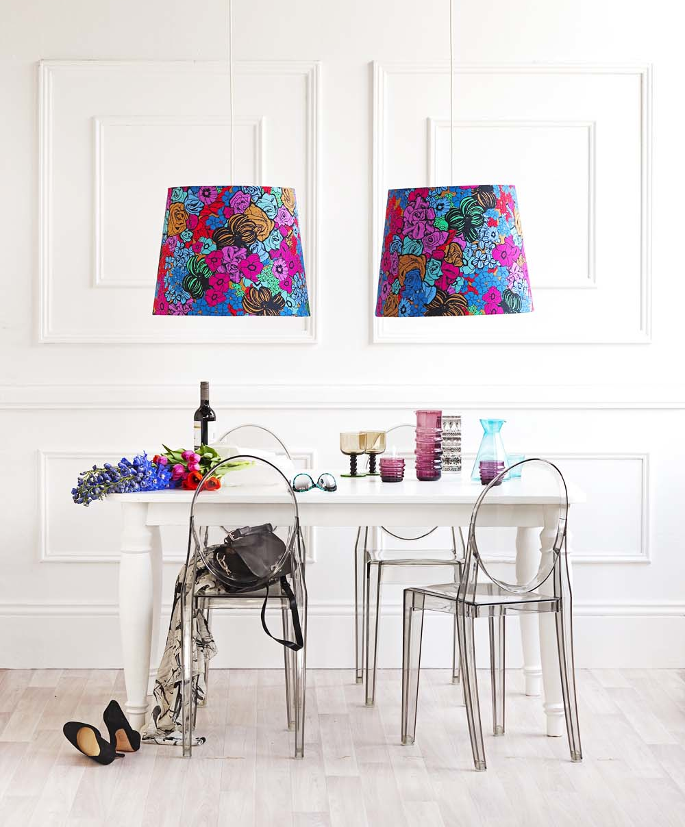 Sixhands Andy lampshades in Gemstone featured in RealLiving