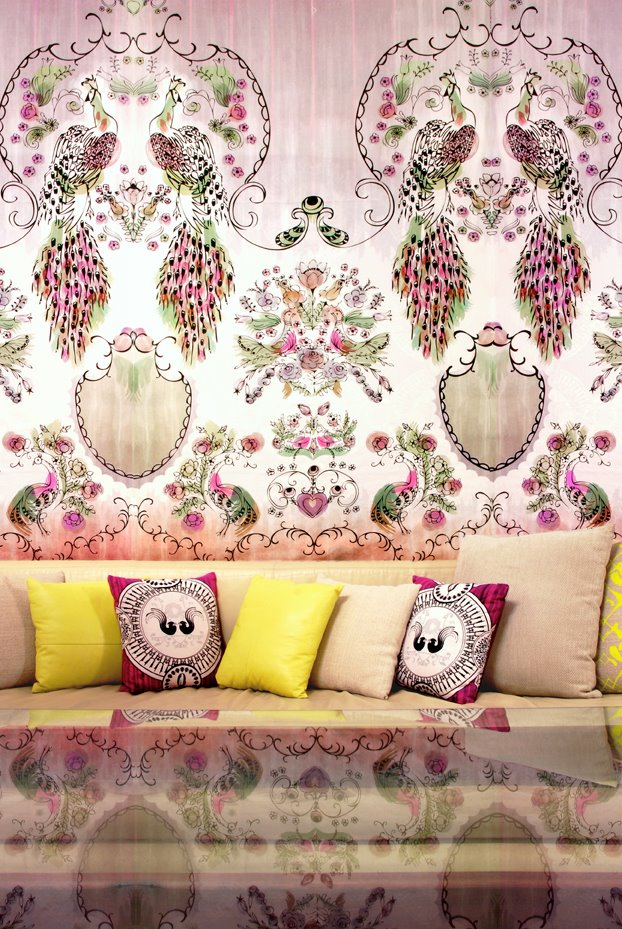 Eden wallpaper panels with Parlour Paradiso accent cushions