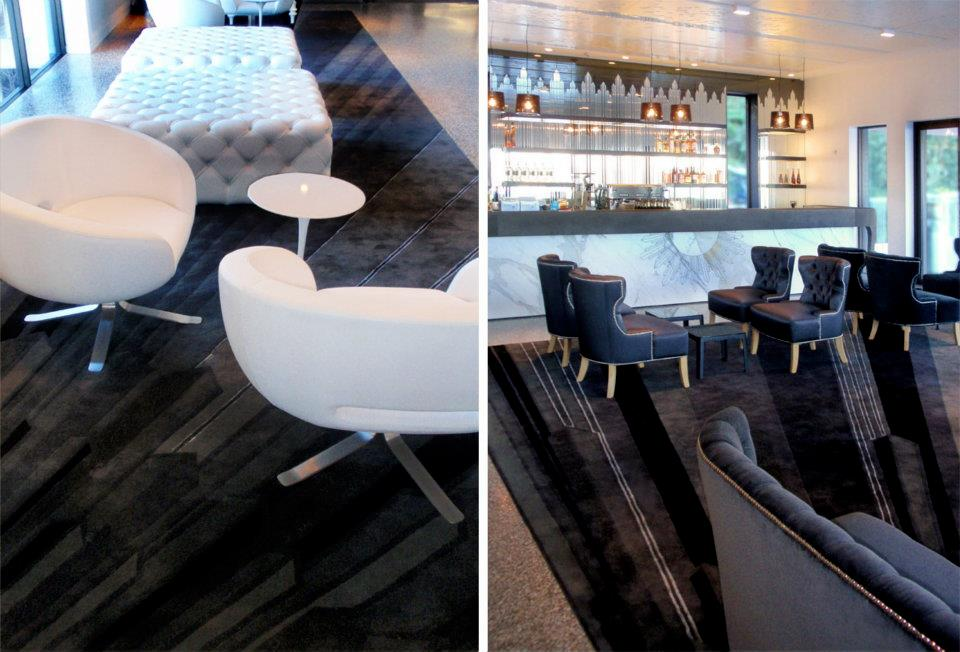 Custom engineered carpet design and marble bar engraving for The Sergeant's Mess at Chowder Bay