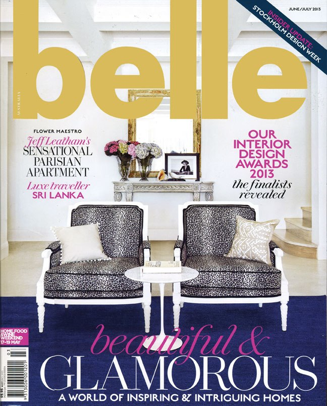 Jasmina accent cushion featured in BKH designed interior shown on the cover of Belle