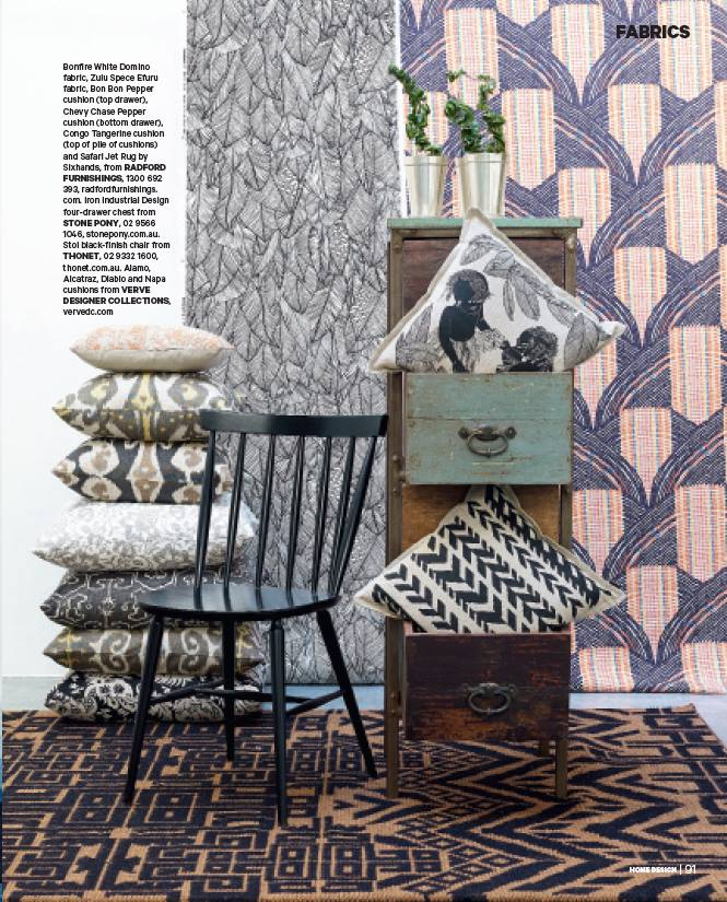 Bonfire Domino wallpaper, Zulu Efuru Spice fabric (hanging), Bon Bon cushion (top drawer) featured in Home Design Magazine