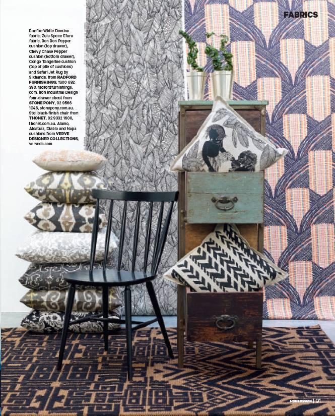 Bonfire Domino wallpaper, Zulu Efuru Spice fabric (hanging), Bon Bon cushion (top drawer) featured in Home Design Magazine
