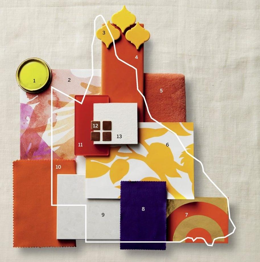 Lorikeet wallpaper in Tequila Sunrise featured in Australian House & Garden