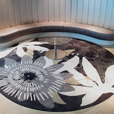 Circular Cornucopia rug in custom grey colourway