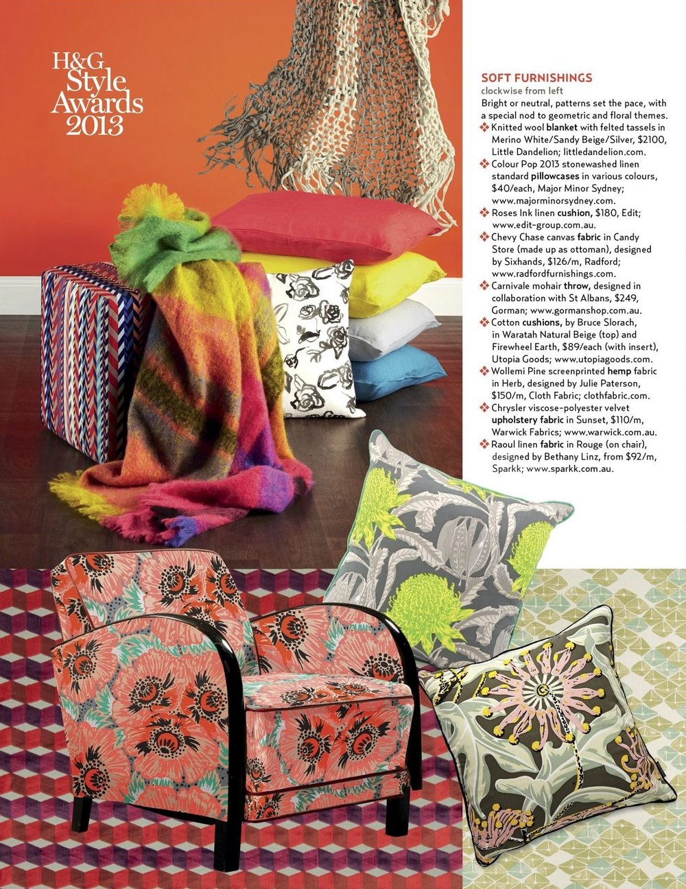 Chevy chase woven fabric ottoman in House & Garden Style Awards