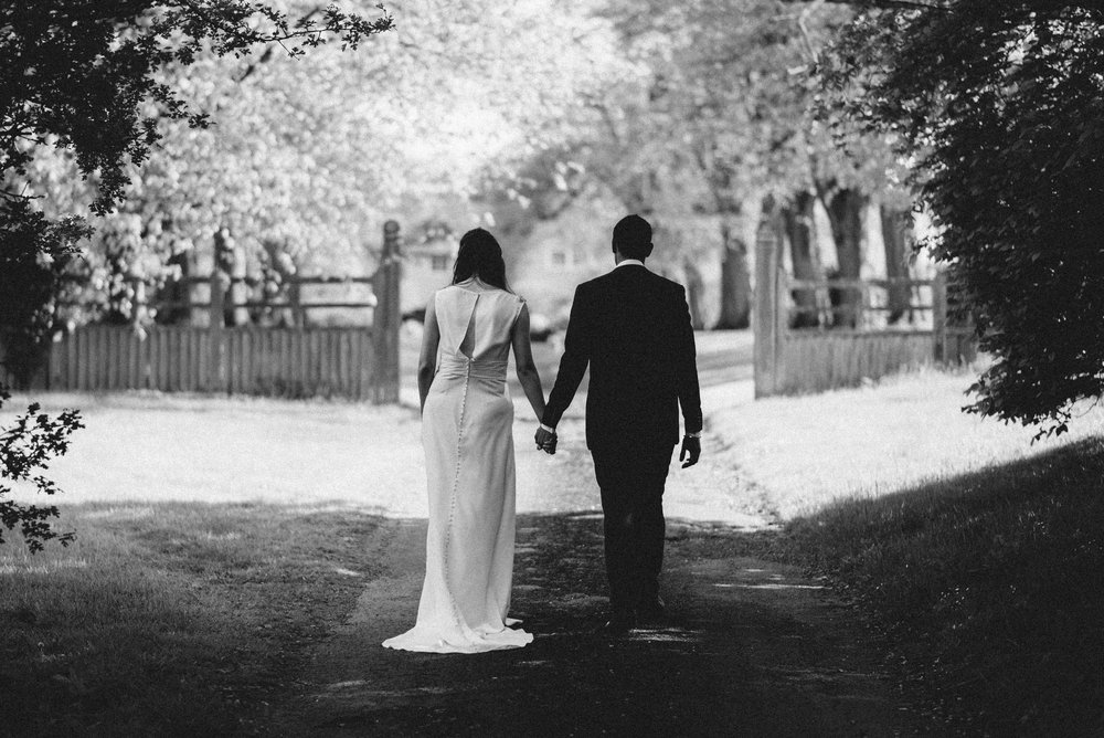 Bride and groom black and white photo Northamptonshire