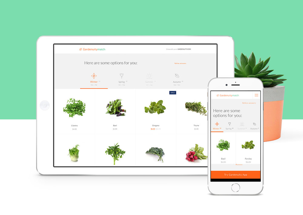 Gardenuity Match website by Gen Design Studio