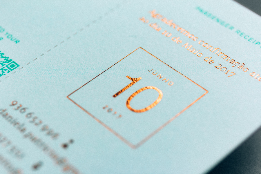 Travel ticket-like wedding invitation by Gen Design Studio