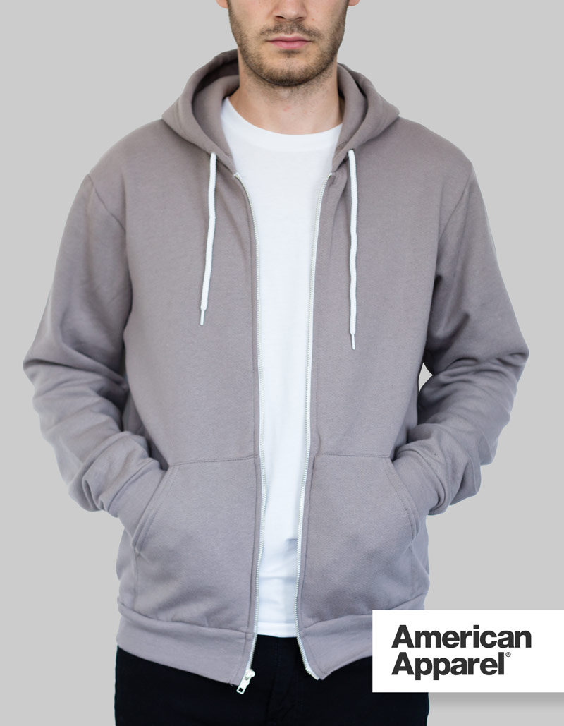 American Apparel Zip Hoodie Unisex / 278gsm / 28 Colours