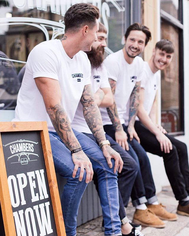 The lads from @chambers_sheffield in their printed white tees. 👌🏻