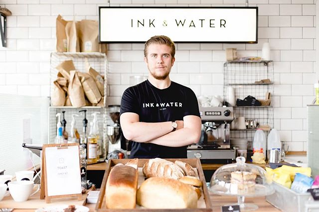 We printed tees for @inkandwater earlier this year. Here's @jakearmstrong3 looking suave. (bit of nostalgia for you) ☕️