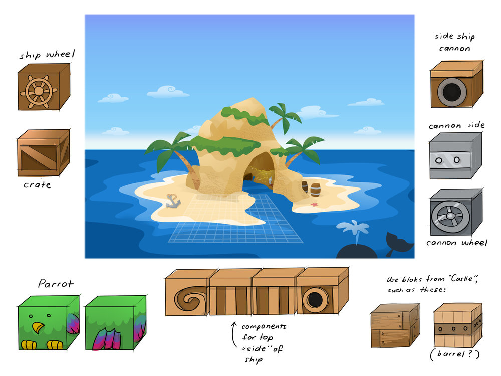 Concept Art - Pirate Environment and Bloks.