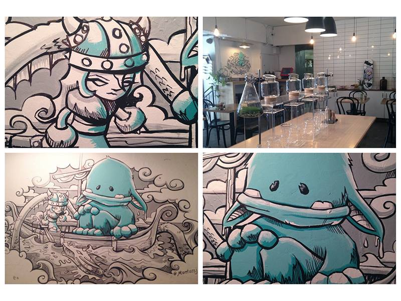 Little Viking & Yeti wall mural at  Drugstore Espresso , 2014