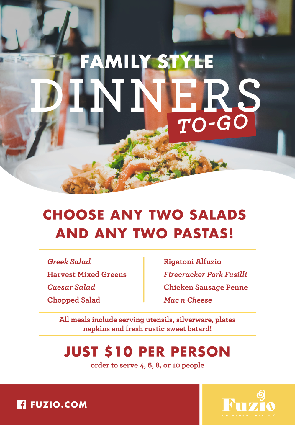 Family Style Dinners to-go