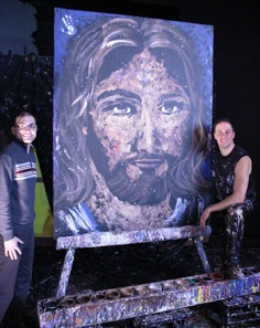 Principal Dr. Michael Volonnino and                                        Speed-painter Rob Surette