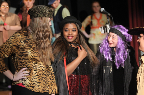 "From Left to right: Danielle Begley '15 of Weymouth as ""Scar"",  Stephanie Stinfort '13 of Quincy as ""The Wicked Witch"", and Lauren Carter, '15 of Quincy as ""Old Hag."""