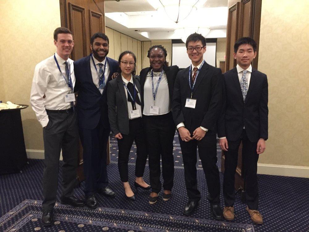 From left: Model UN chapter President Timothy Riley, Karthikeyan Arumugam, Viola Han Xu, Imuetiyan Eweka, Zachary Zhu, Timothy Liu