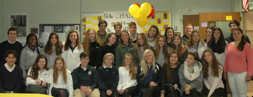 Spanish exchange students and their American hosts get together at Archbishop Williams High School