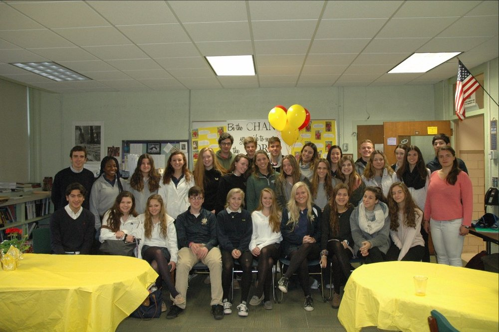 Viva España:  The participants in our Spanish Cultural Exchange program, from AWHS and our sister school in Madrid, pose at the welcome breakfast we held Tuesday morning.
