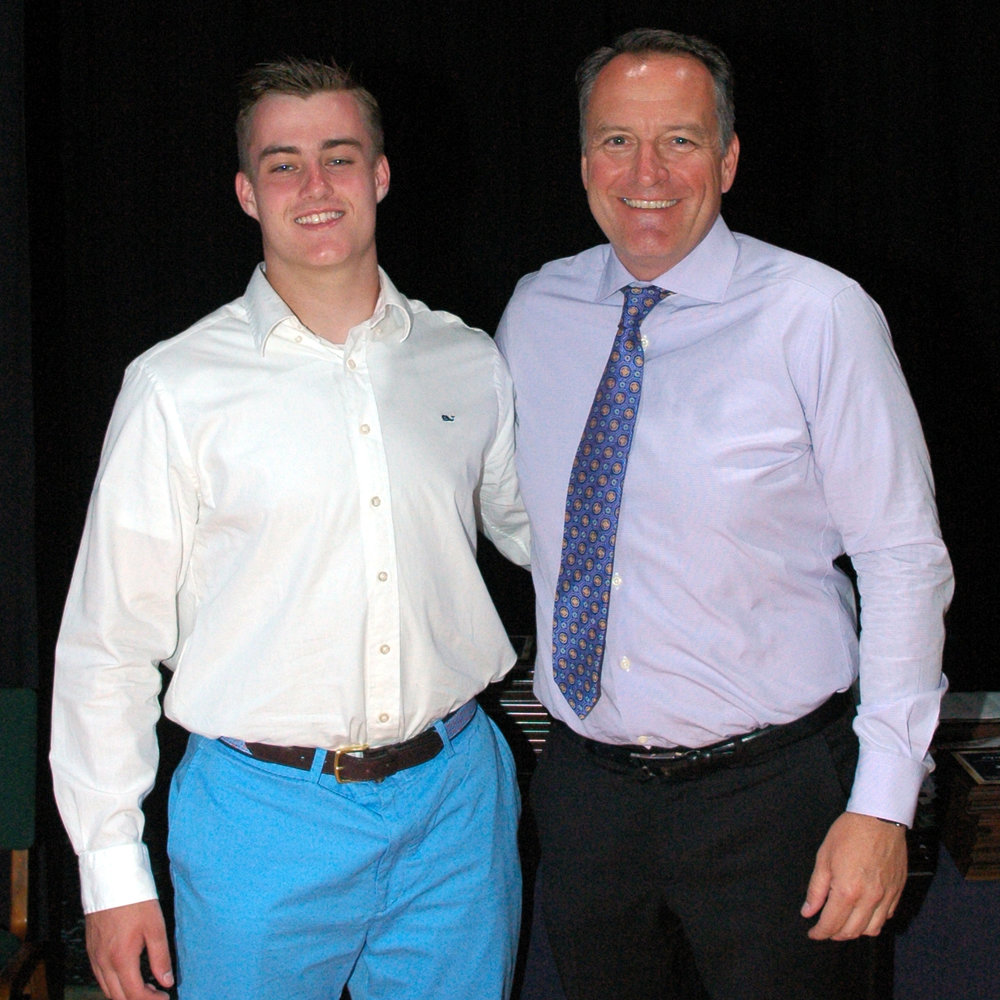 "Casey Earle '17, AWHS Male Athlete of the Year 2017, and Head Football Coach William ""Coach K"" Kinsherf, will pair up at the 39th Shriners All-Star Classic At Bentley University. Bill will be head coach and Casey will be a linebacker for the team."