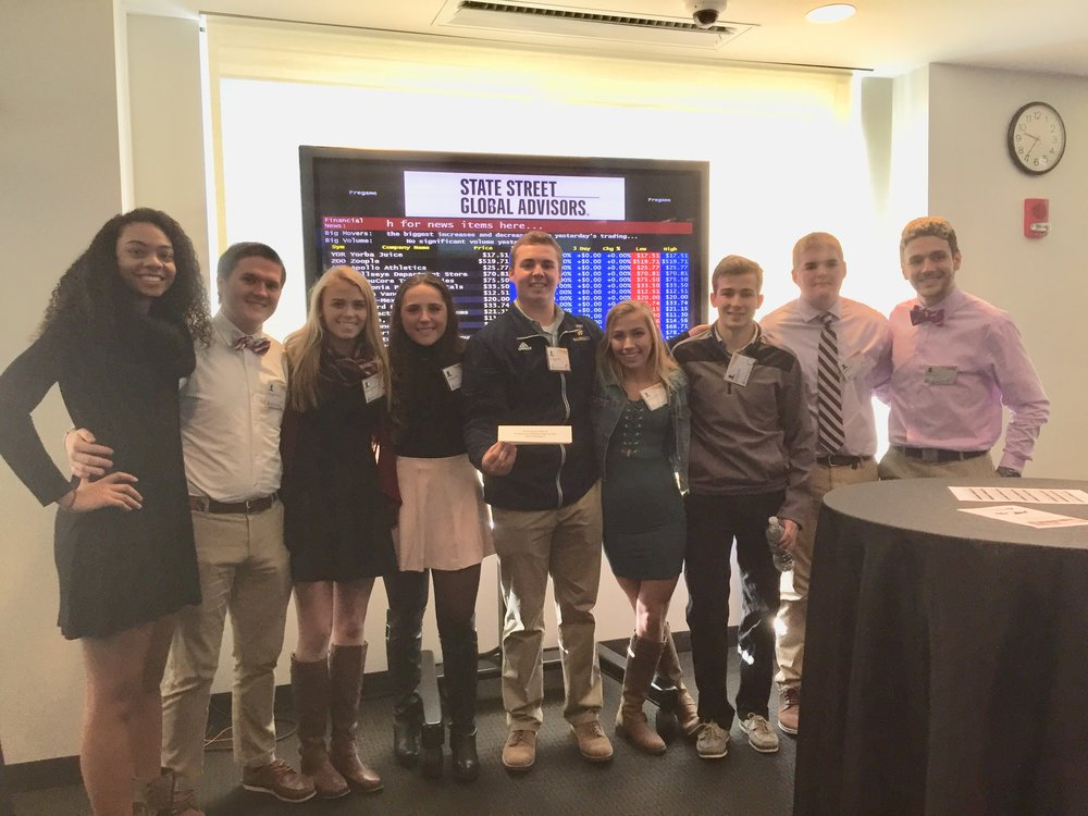 STOCK MARKET INVESTORS: Personal Finance students who participated in the State Street Bank Stock Market simulation, from left: Chelsea Taxter, Steven McCormack, Shannon Woods, Jamie Herrick, Sam Hamer, Samantha Zanghi, Brendan Foley, Paul Hedin, Luigi Polizio