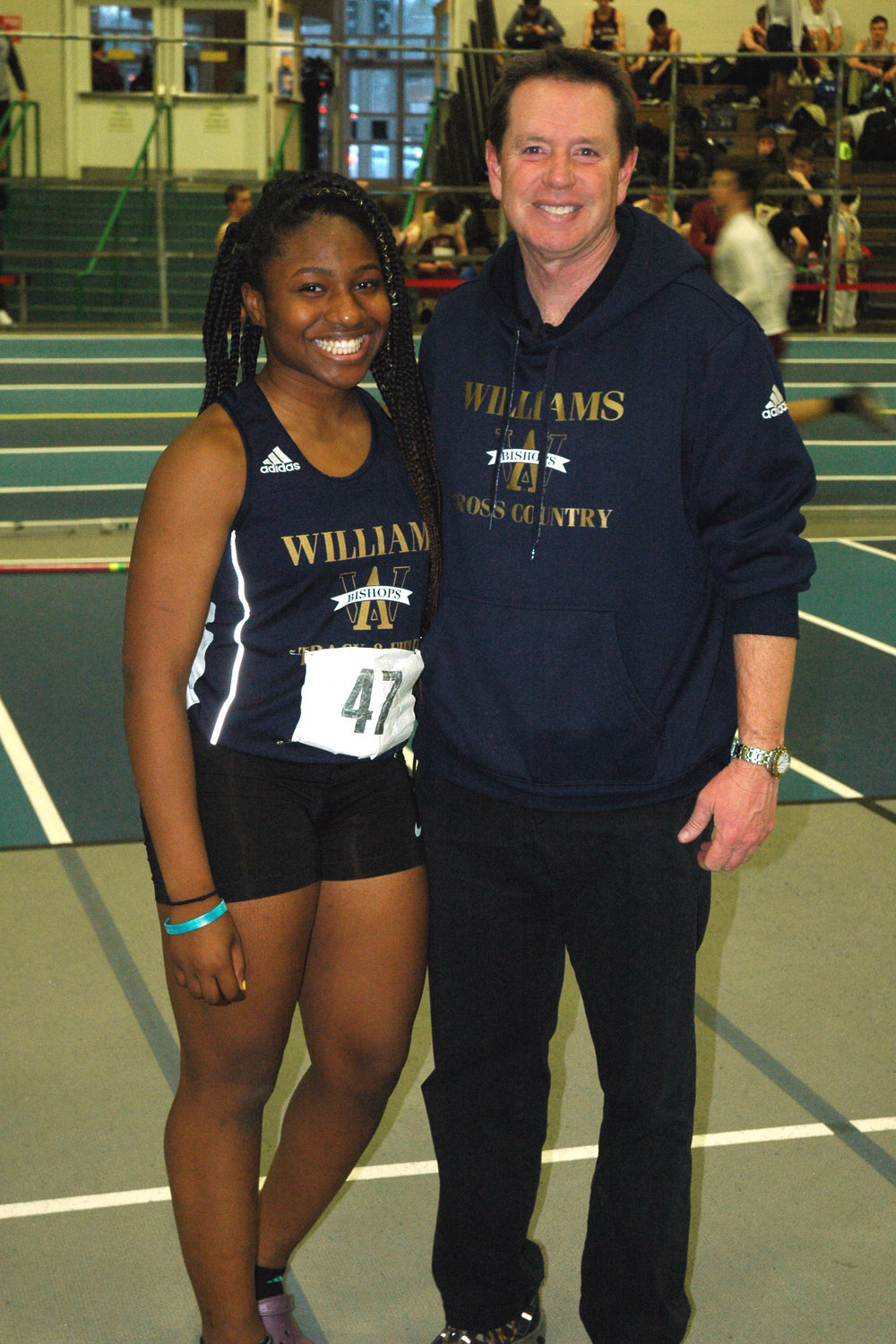 Working together: Senior Chigozie Sumani with her four year coach, Bryan Van Dorpe