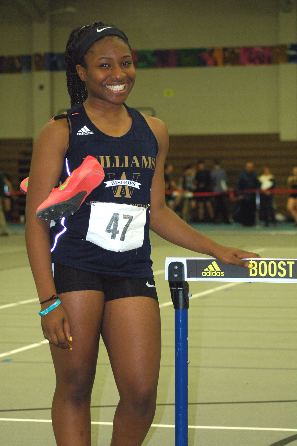 Record Breaker: Chigozie Sumani recently broke the AWHS record for the 55 Meter Hurdles