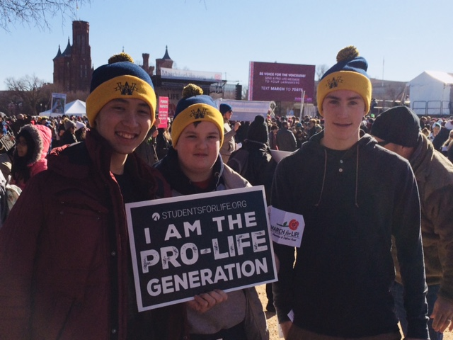 RALLY FOR LIFE! From left, Luan Nguyen '19, Noah Dembrowksy '21 and Collin Driscoll '21 at the National Mall, Washington, D.C.